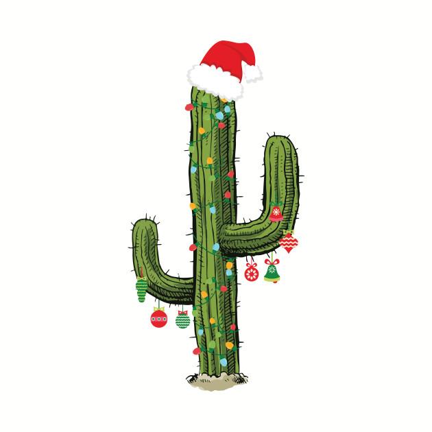 Cactus Christmas Tree Lights Wearing Santa Hat - Birthday ...