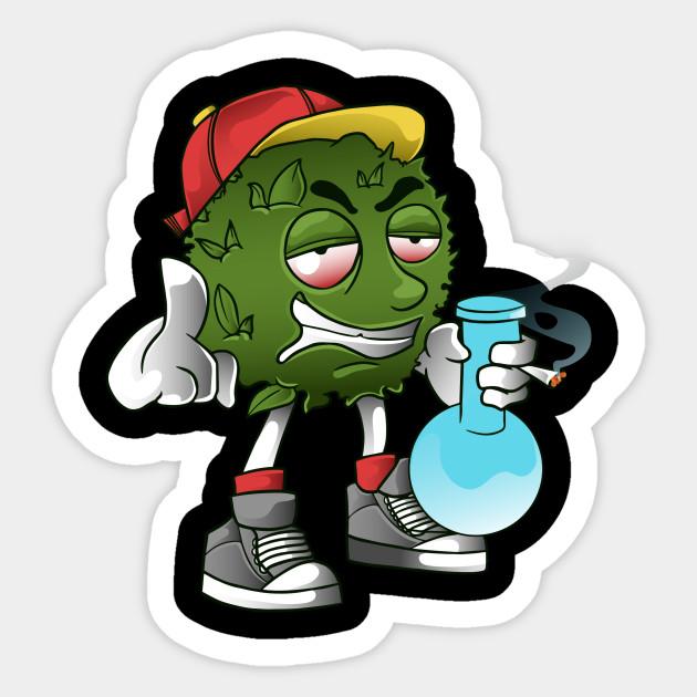 kid smile get high smoking weed - Weed Clothing - Sticker