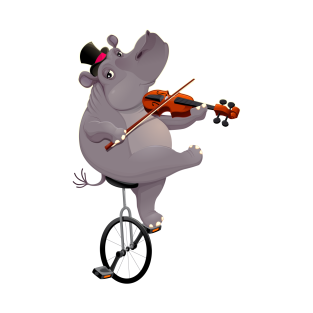 Funny hippo on an unicycle