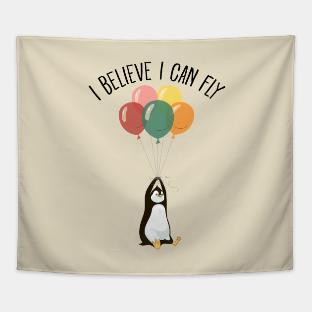 I Believe I Can Fly - Cute Penguin Flying With Balloons