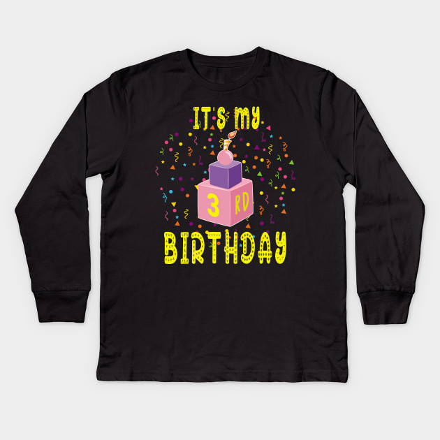 3Rd Birthday Shirt Gift Three Years Old Kids Boys Girls Tee Long Sleeve T