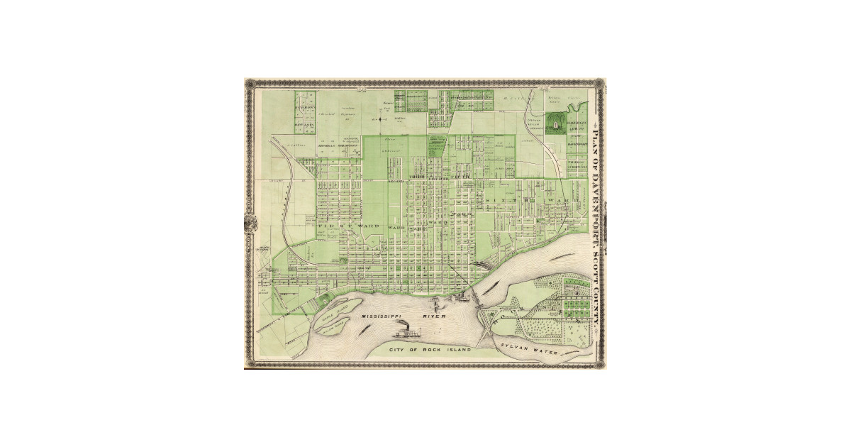 Vintage Map Of Davenport Iowa 1875 Davenport Ia T Shirt