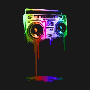 Melting Boombox (digital rainbow color) t-shirts