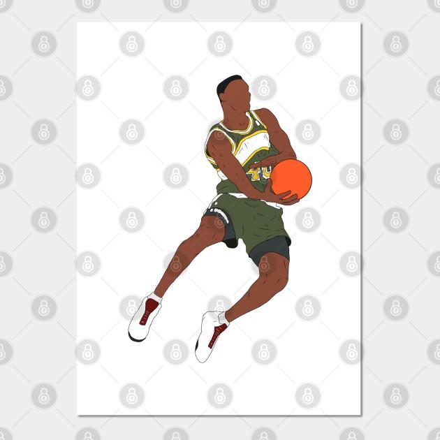 """NBA Basketball Poster 24/"""" X 36/"""" NEW 1 GARY PAYTON SHAWN KEMP"""