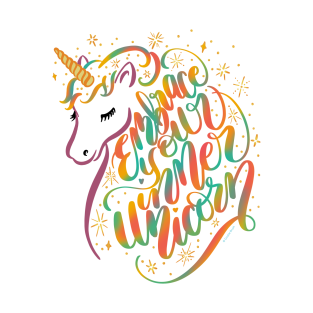 Embrace Your Inner Unicorn Colorful Hand Lettering Design t-shirts