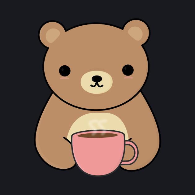 Cute Brown Bear Drinking Coffee T-Shirt