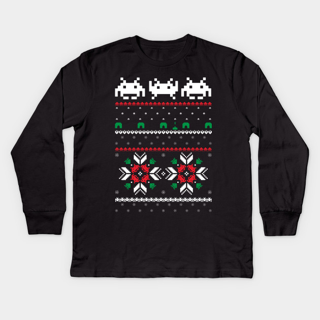 c6db05d91d59 Retro Space Video Game 8 bit Pixel Ugly Christmas Sweater Kids Long Sleeve T -Shirt