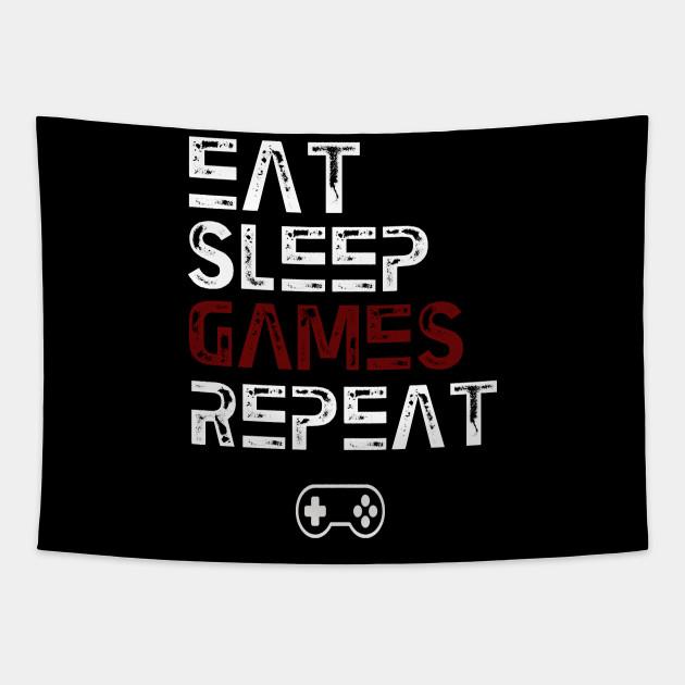 Eat Sleep Game Repeat Eat Sleep Repeat Tapestry Teepublic Uk