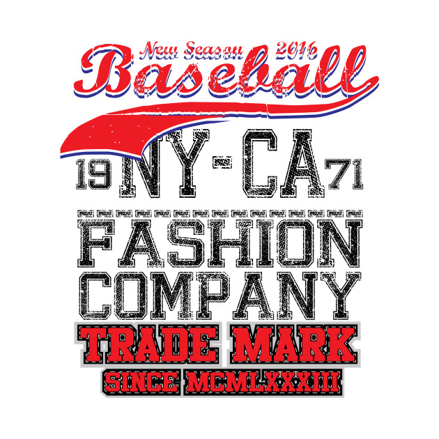 College baseball team badge in retro style. Graphic design for t-shirt. Black and red print on a white background