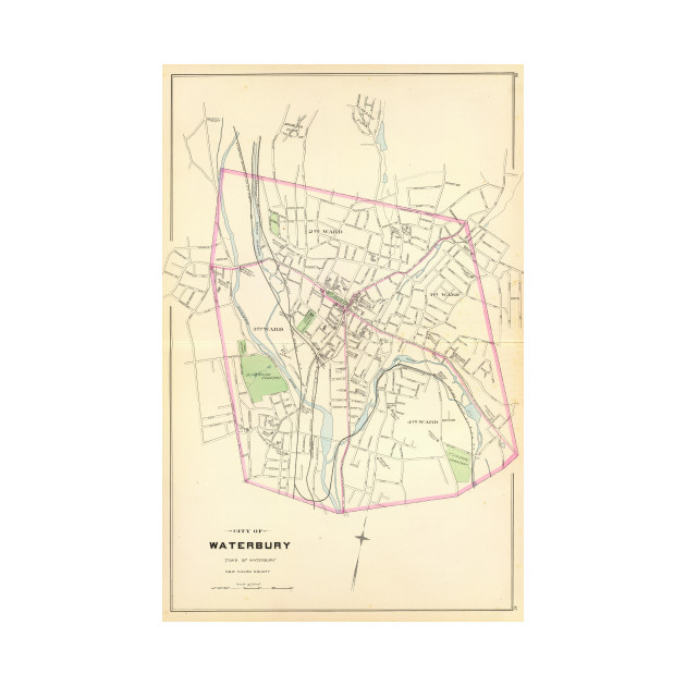 Vintage Map of Waterbury CT (1893) - Waterbury Ct - T-Shirt | TeePublic