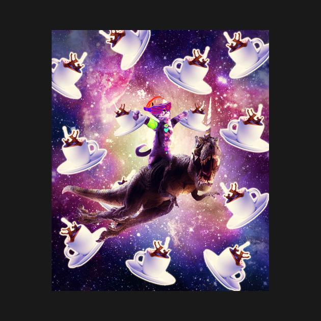Rave Space Cat On Dinosaur Unicorn With Coffee