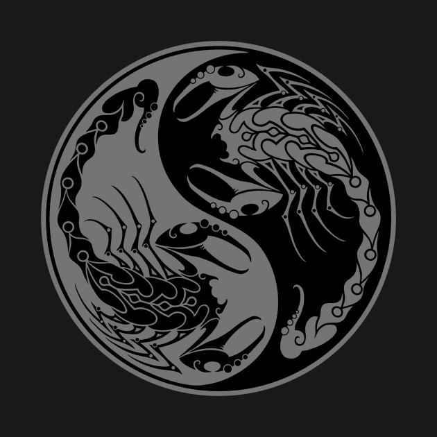 Gray and Black Scorpions Yin Yang