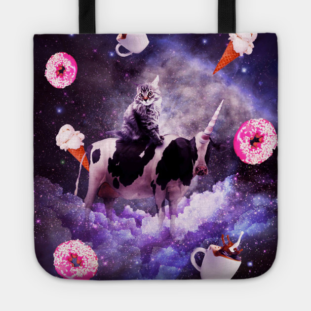Outer Space Cat Riding Cow Unicorn Donut Cat Riding Cow Tote