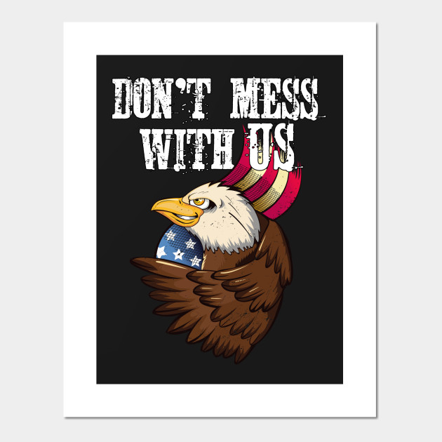 Patriotic Art Print Bald Eagle and American Flag Land of the Free 8x10 In