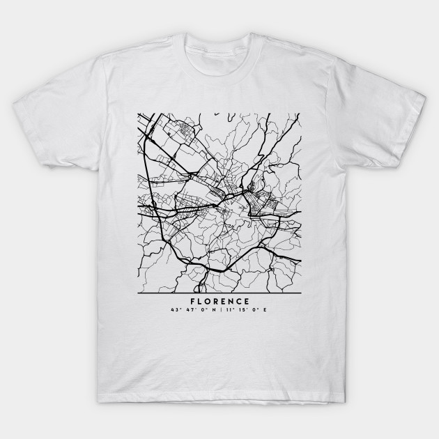 Map Of Italy Black And White.Florence Italy Black City Street Map Art