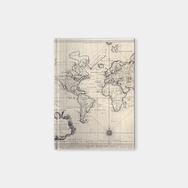 Vintage map of the world 1750 world map notebook teepublic 1919101 1 gumiabroncs Choice Image