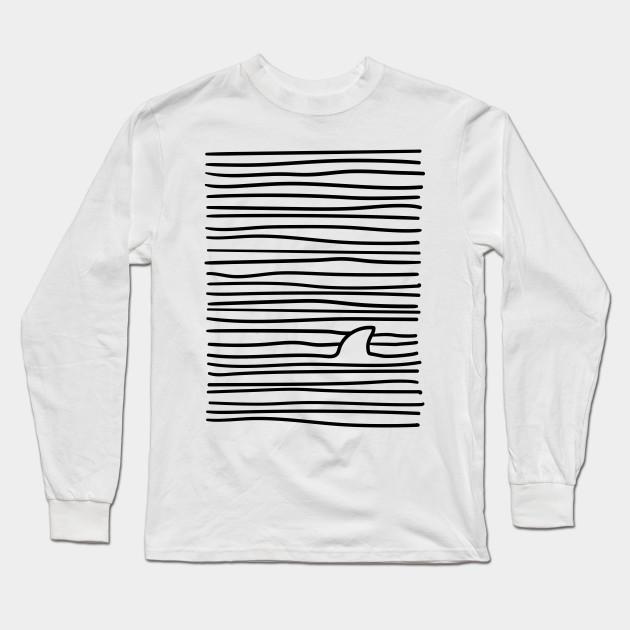 61abc678 Minimal Line Drawing Simple Unique Shark Fin Gift Women Men Boys Girls Long  Sleeve T-Shirt