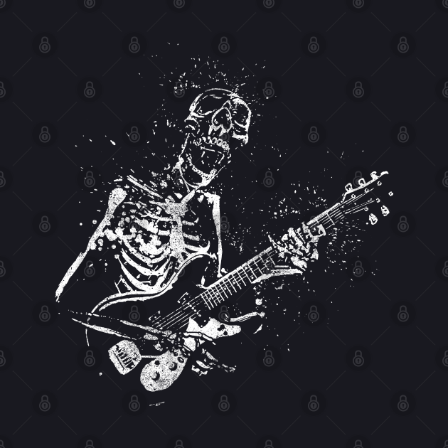 Guitar playing rock and roll skeleton
