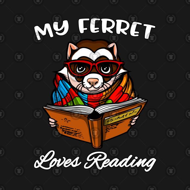 Ferret Book Reading Lover Cute Pet Animal