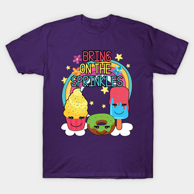 Cute Bring On The Sprinkles Kids Rainbow Dessert T-Shirt