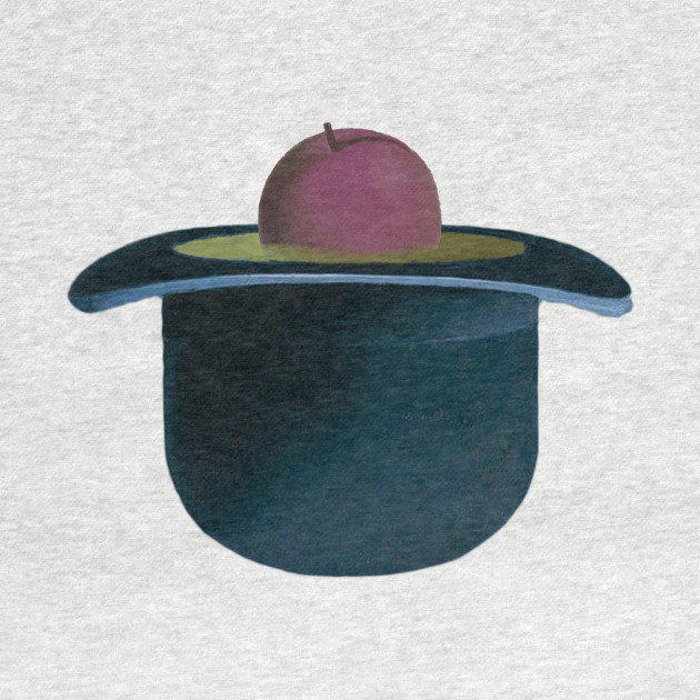 A single plum floating in perfume served in a man's hat
