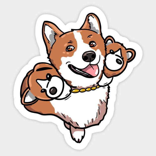 Corberus The Three Headed Doggo Dog Sticker Teepublic