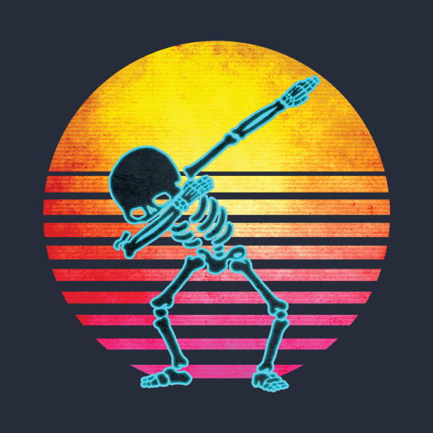 Neon Dabbing Skeleton Retro 1980s