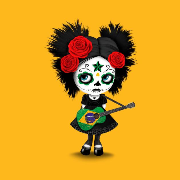 Sugar Skull Girl Playing Brazilian Flag Guitar