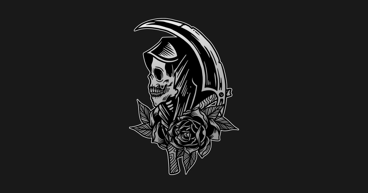 92ca085ff4ae2 Grim Reaper Scythe Death Skull with Roses Vintage Tattoo Flash American  Traditional - Vintage Tattoo - Posters and Art Prints | TeePublic