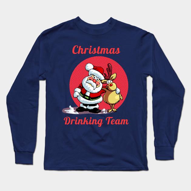 4332343c9b Drinking Christmas Team Cute Cartoon Santa With Deer Gift T-Shirt Long  Sleeve T-Shirt
