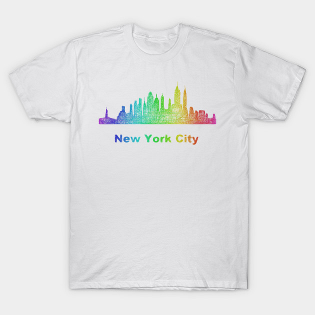 Rainbow New York City Skyline New York T Shirt Teepublic