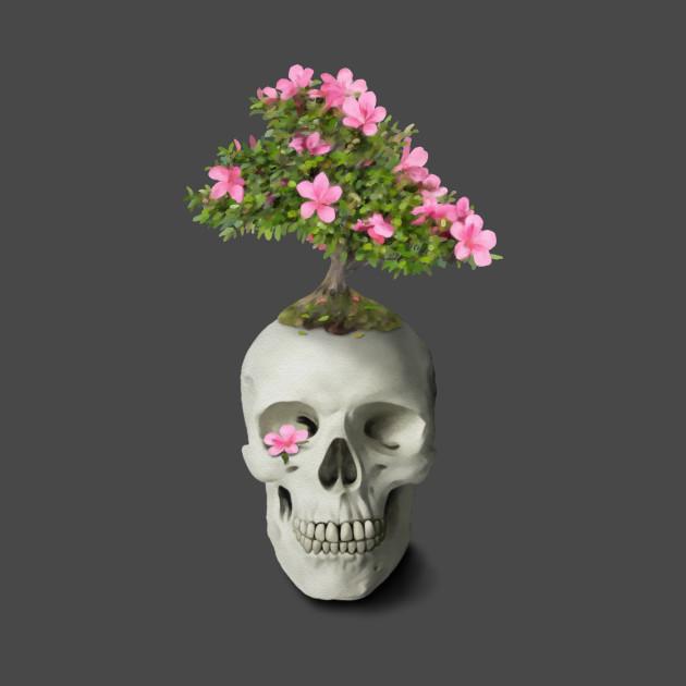 Bonsai tree skull floral skull t shirt teepublic 2329431 0 mightylinksfo