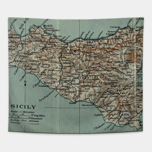 Vintage Map of Sicily Italy (1911)