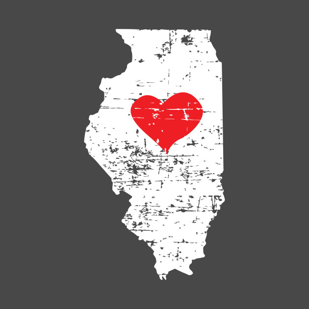 <3 Illinois Map Gift T Shirt for Men Women and Kids