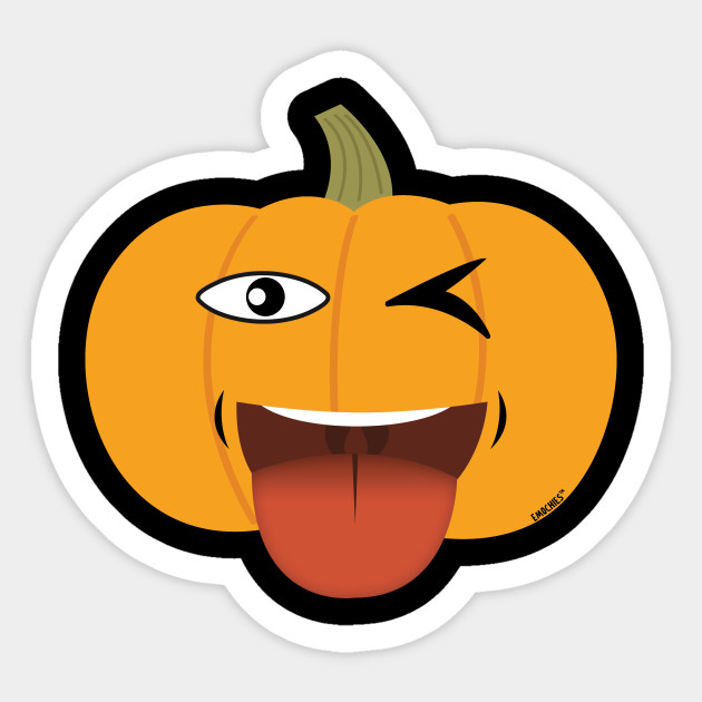 One Eye Tongue Out Pumpkin Halloween Emoji Sticker