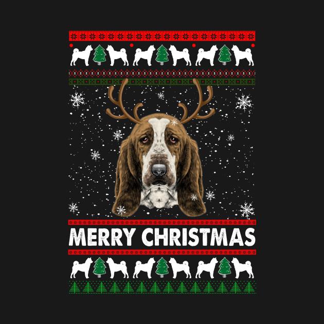 Basset Hound Ugly Christmas Sweater Funny Christmas Tshirt Gifts