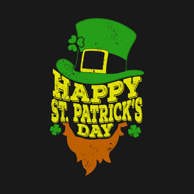 Happy St Patricks Day T-Shirt Shamrock Beard irish Gift Tee