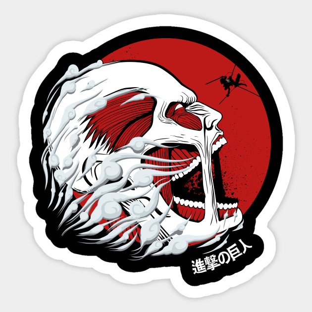Titan colossus attack on titan anime manga otaku sticker