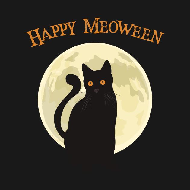 Happy Meoween Black Cat Halloween - Meow - T-Shirt   TeePublic