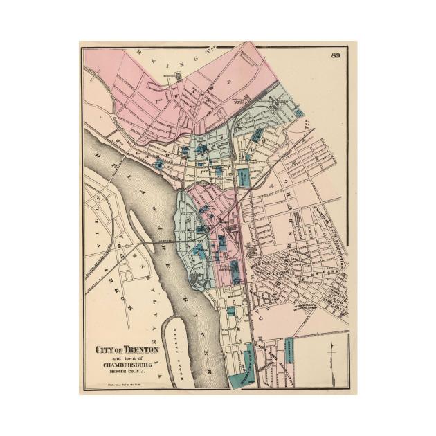 Vintage Map of Trenton NJ 1872 Trenton Map TShirt TeePublic