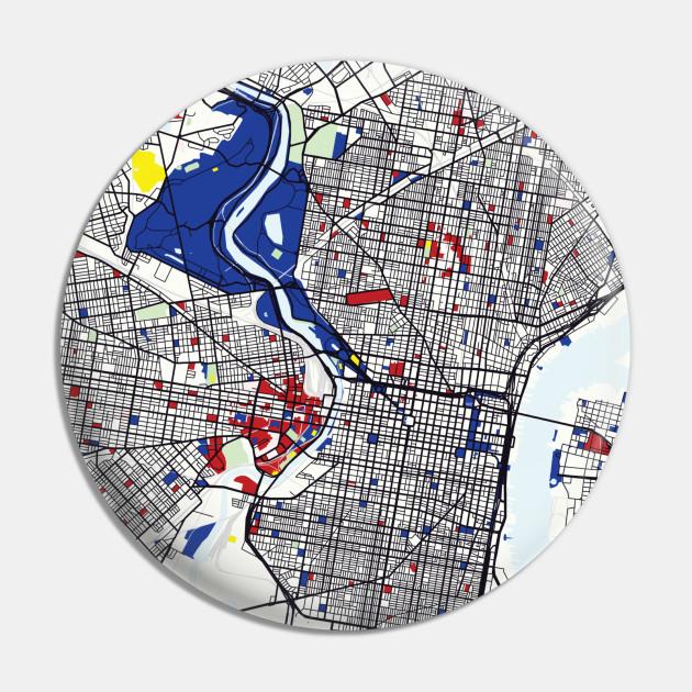 Philadelphia (United States) Map x Piet Mondrian