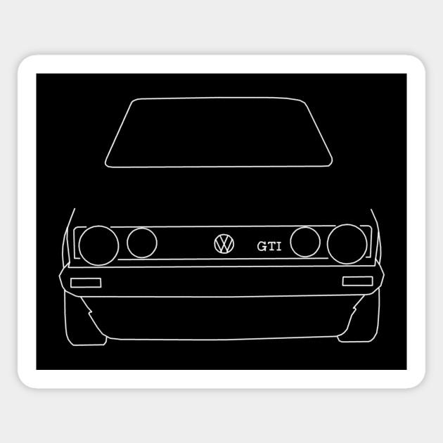 0bc3b407a VW Golf GTI Mk 1 outline graphic (white) - Golf - Sticker   TeePublic