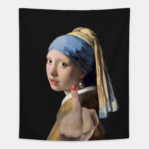 Girl with a Pearl Earring Giving the Middle Finger