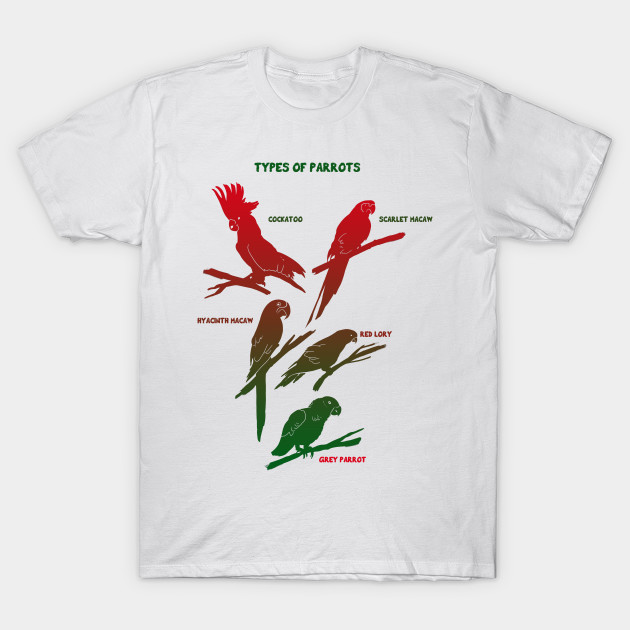Types of Parrots t-shirt. Graphic cockatoo t-shirt gift - Parrots ... 335fdcc0f