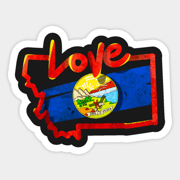 love montana state flag map outline souvenir gift t shirt state