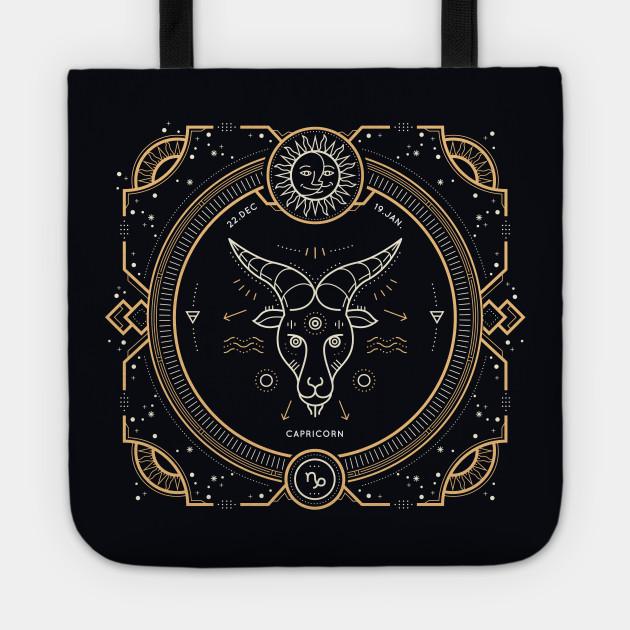 Capricorn Zodiac Gold White on Black Background