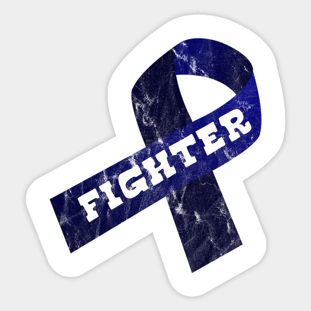 Navy Blue Ribbon Awareness Colon Cancer And Colorectal Cancer Crohn S Disease Cyclic Vomiting Syndrome Cvs Epstein Barr Virus Erb S Palsy Colon Cancer Autocollant Teepublic Fr