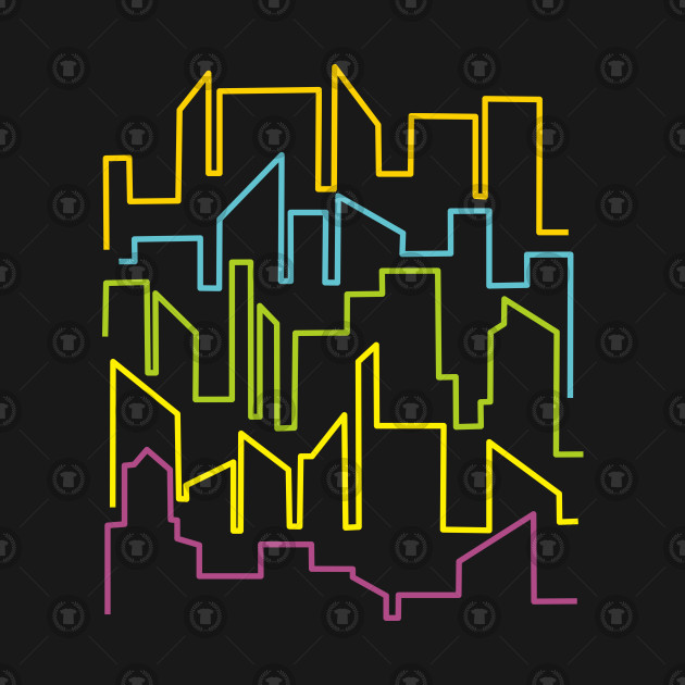 COLORFUL CITYSCAPE OUTLINE