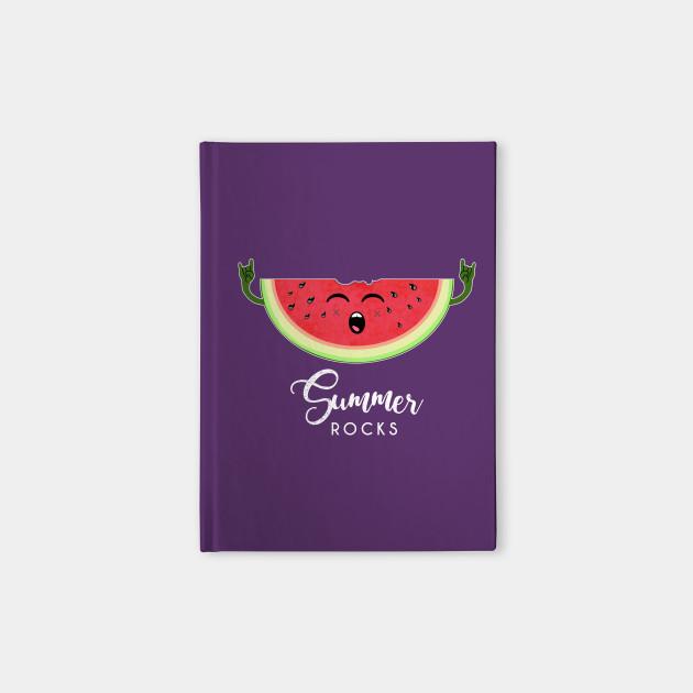7fc021d8b05 Summer rocks - Funny Watermelon Rock Hand Festival T Shirt Notebook
