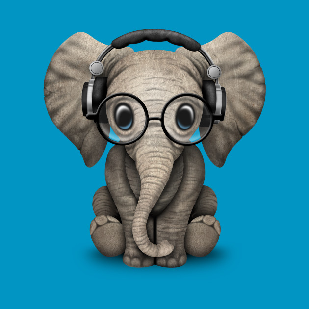 cute baby elephant dj wearing headphones and glasses baby elephant